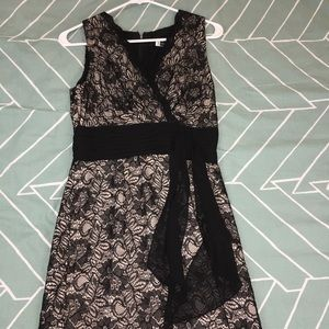 Lace cocktail dress black with nude
